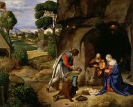 The Nativity scene of Jesus' birth, by Renassiance painter Giorgione