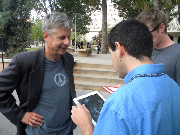 2012 presidential candidate Gov. Gary Johnson (left) answers my questions after he gave a speech at Cal State Fullerton in October 2012.