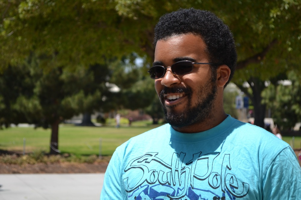 Cal State Fullerton student Jerome Terell, 23, a master 's student in civil engineering and team leader of the Green Cam pus program, talks about how the campus is adopting energy-efficient technologies.
