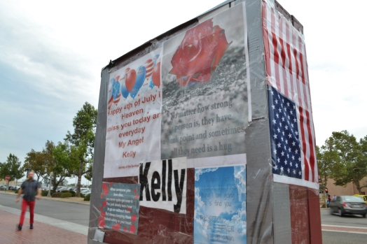 A flag and Fourth of July notes are left on the memorial for Kelly Thomas on the two-year marking of his death.