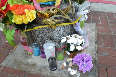 Flowers left at the memorial for Kelly Thomas, who was allegedly killed by police.