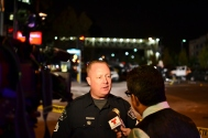 Fullerton police Sgt. Jeff Stuart briefs the media about the crash