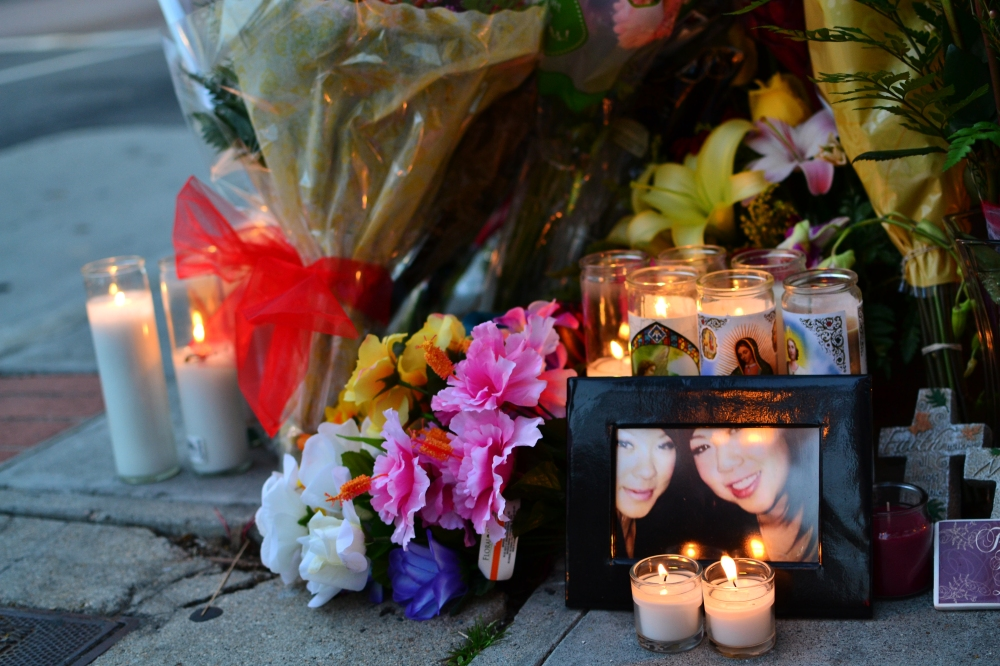 Pictures, flowers and candles were set up on Monday night.