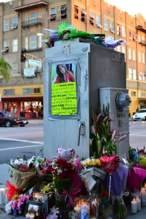 The memorial for Kim Pham as seen on January 20, 2014.