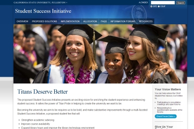 A screenshot of CSUF's Student Success initiative website.