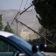 View of the downed power line.