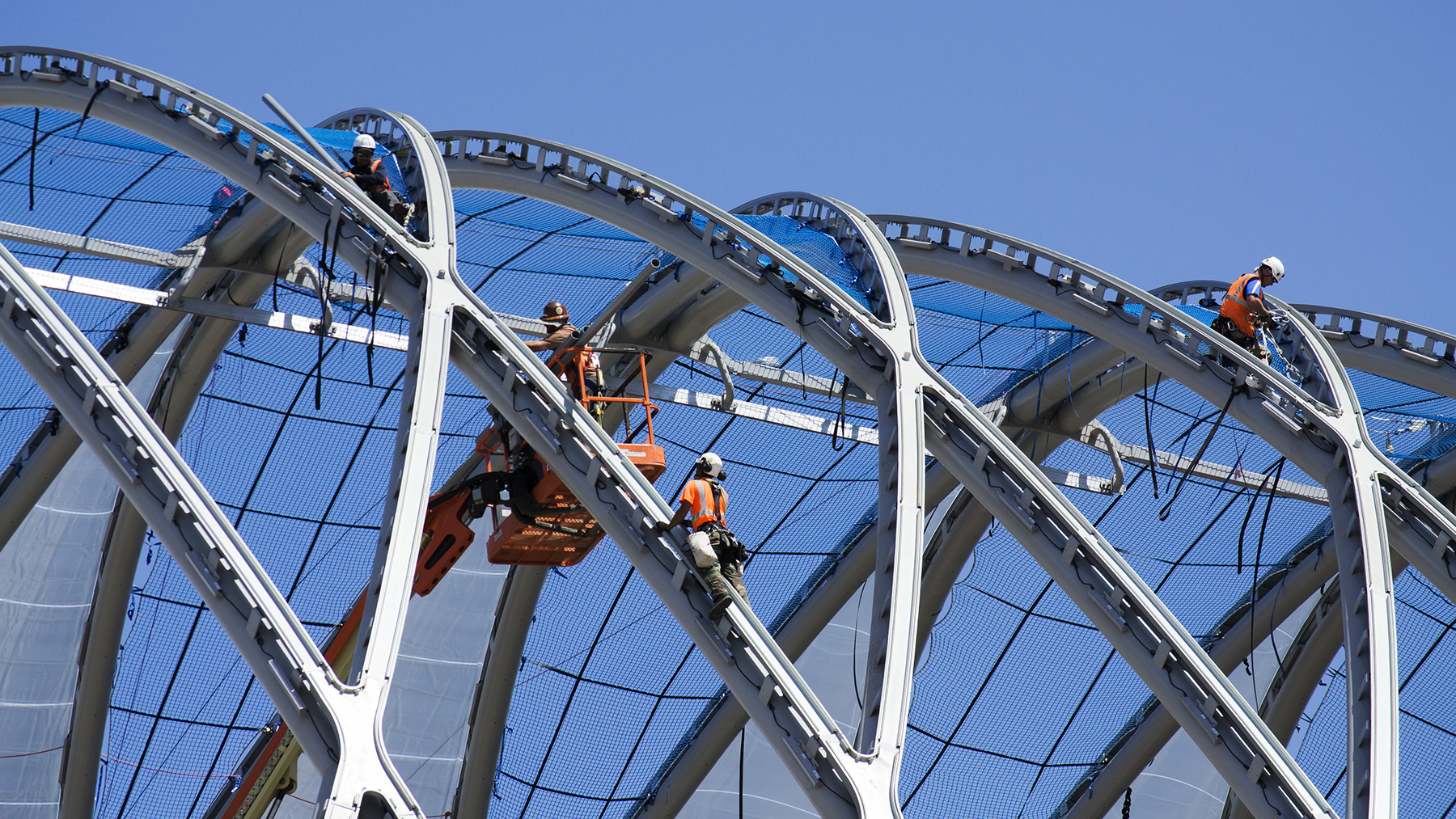 Construction crews work on the Anaheim ARTIC in May 2014.