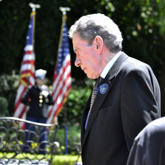 Edward Nixon, 84, the youngest and last surving brother of President Nixon, takes part in a Memorial Day wreath-laying ceremony at the Nixon Library.