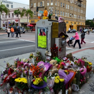 A memorial for Kim Pham in downtown Santa Ana in late January 2014.