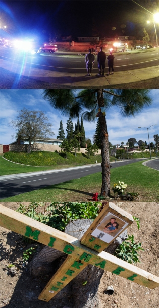 These photos show how time has changed a bend of Fairmont Boulevard in central Yorba Linda. From top to bottom, these photos were taken on: Feb. 11, 2014; Feb. 22, 2014; and Aug. 8, 2014.