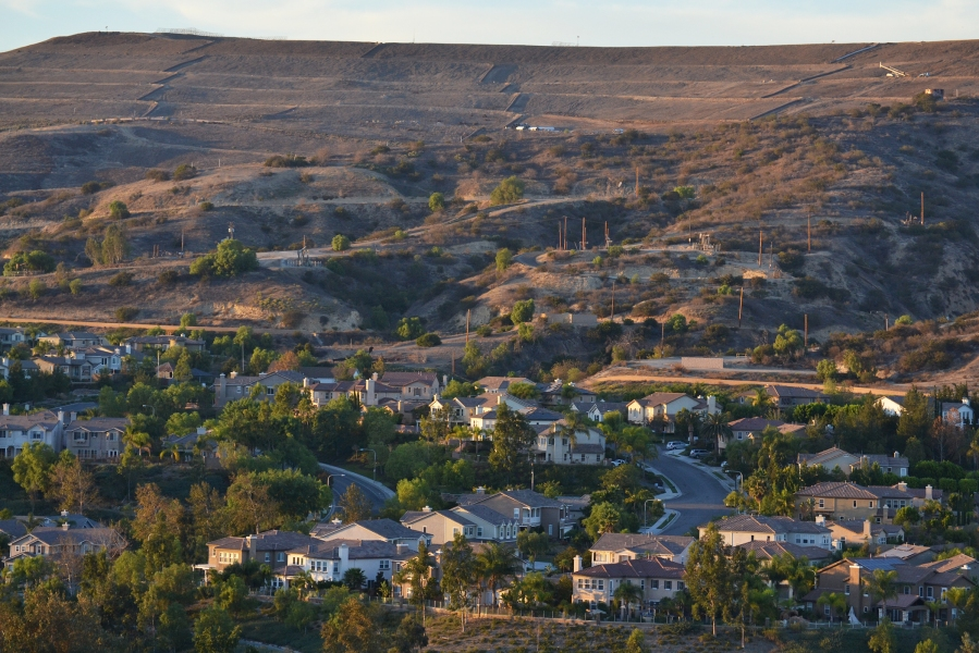 6:10 p.m. Houses nestled on a ridge in Carbon Canyon.