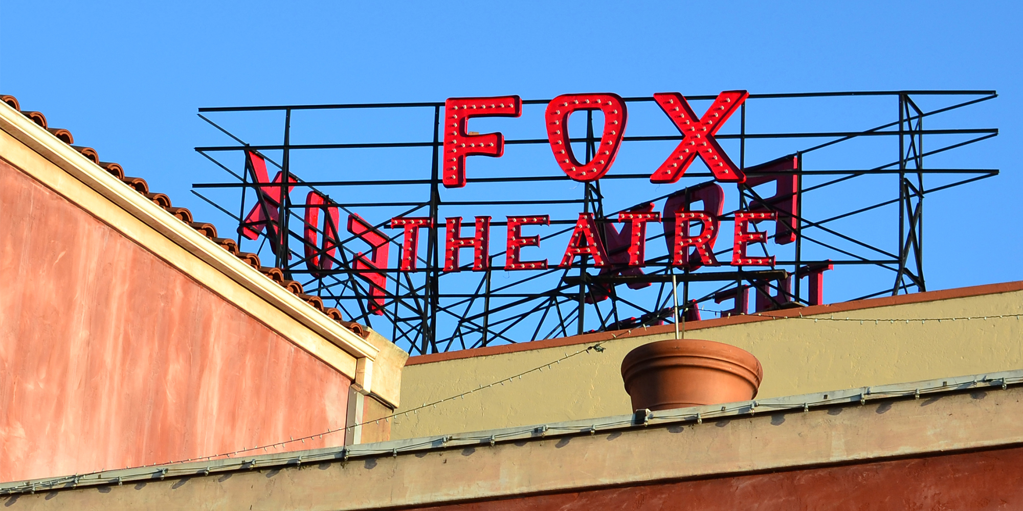 The theater's sign has been repainted and re-installed. Photographed on May 4, 2015.
