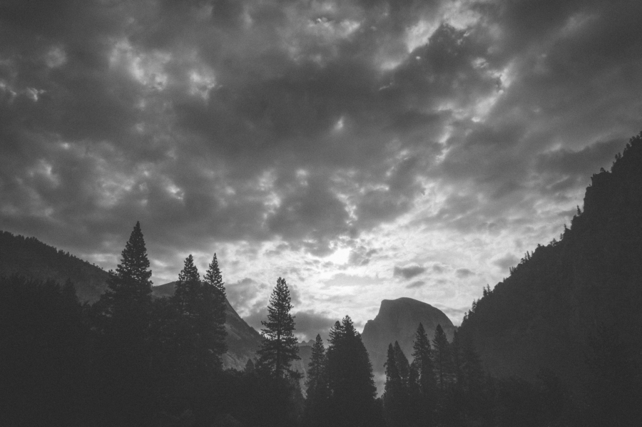 Storm clouds roll into Yosemite Valley above Half Dome in July 2015.