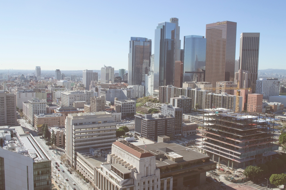 The DTLA skyline as seen in January 2015.