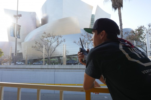 David, a Vertical Prime videographer, stays in communication with a mobile team at a production shoot on location in downtown Los Angeles in March 2015.