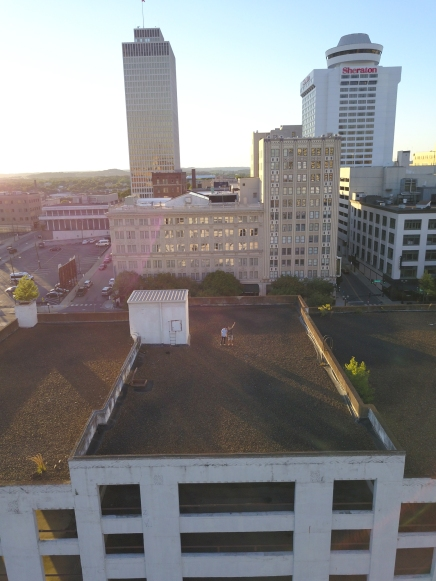 Aerial view of Downtown Nashville. Copyright Twelve Stones Productions.